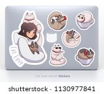 sticker set with cute girl and... | Shutterstock .eps vector #1130977841