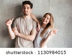 attractive young couple girl... | Shutterstock . vector #1130984015