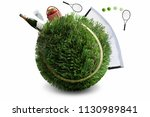 tennis ball made from grass... | Shutterstock . vector #1130989841