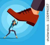 big foot stepping on business... | Shutterstock .eps vector #1130990357
