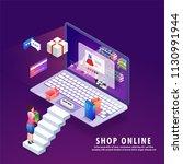 online shopping  isometric... | Shutterstock .eps vector #1130991944
