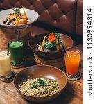 spaghetti pasta with pesto... | Shutterstock . vector #1130994314