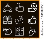 set of 9 hand outline icons...   Shutterstock .eps vector #1131002291