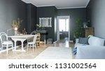 modern living room with black...   Shutterstock . vector #1131002564