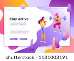 landing page template of... | Shutterstock .eps vector #1131003191