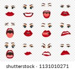 comic emotions. women facial...   Shutterstock .eps vector #1131010271