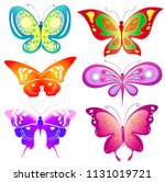 beautiful color butterflies set ... | Shutterstock .eps vector #1131019721