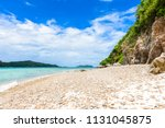rocky coast and white sand...   Shutterstock . vector #1131045875