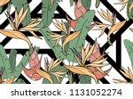 paradise bird flower  palm... | Shutterstock .eps vector #1131052274