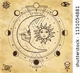 mystical drawing  sun and  moon ... | Shutterstock .eps vector #1131054881