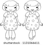 cute smiling girl with short... | Shutterstock .eps vector #1131066611