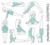 set of yoga poses | Shutterstock .eps vector #1131075911