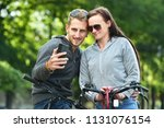 young couple taking selfie with ... | Shutterstock . vector #1131076154