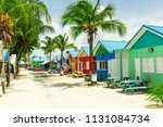 colourful houses on the... | Shutterstock . vector #1131084734