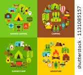 camping concepts set. poster... | Shutterstock .eps vector #1131085157