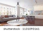 modern kitchen interior 3d... | Shutterstock . vector #1131093161