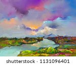 abstract oil painting landscape.... | Shutterstock . vector #1131096401