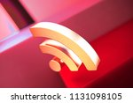 rss feed icon on the red... | Shutterstock . vector #1131098105