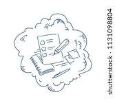 clipboard check marks pen exam... | Shutterstock .eps vector #1131098804