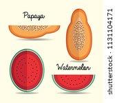 papaya and watermelon paper art ... | Shutterstock .eps vector #1131104171