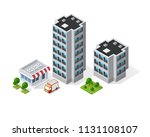 3d map of city on white blue... | Shutterstock .eps vector #1131108107