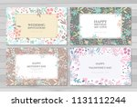 set of card with flowers... | Shutterstock .eps vector #1131112244
