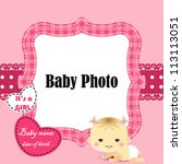 baby arrival card with photo... | Shutterstock .eps vector #113113051