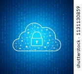 technology cloud icon with lock ... | Shutterstock .eps vector #1131130859