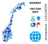 norway map mosaic of blue... | Shutterstock .eps vector #1131136559