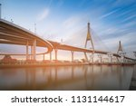 twin suspension bridge... | Shutterstock . vector #1131144617