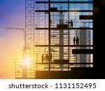 silhouette of engineer and... | Shutterstock . vector #1131152495