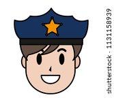 color happy policeman head with ... | Shutterstock .eps vector #1131158939