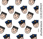 color happy policeman and man... | Shutterstock .eps vector #1131159419