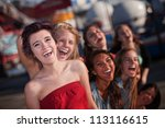 group of girls hanging out and... | Shutterstock . vector #113116615