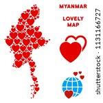 romantic myanmar map...   Shutterstock .eps vector #1131166727