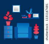 living room interior. cozy... | Shutterstock .eps vector #1131167681