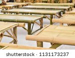 bamboo platform benches in... | Shutterstock . vector #1131173237