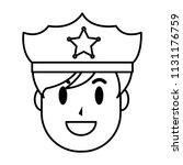 line happy policeman head with... | Shutterstock .eps vector #1131176759