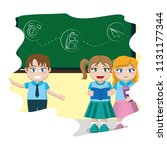 happy children students... | Shutterstock .eps vector #1131177344