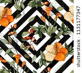 trendy floral pattern. isolated ... | Shutterstock .eps vector #1131177347