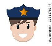 happy policeman head with hat... | Shutterstock .eps vector #1131178349