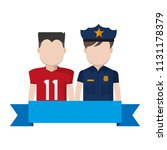 football player with policeman... | Shutterstock .eps vector #1131178379