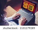 woman using a laptop to buy... | Shutterstock . vector #1131179285