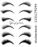 set of black eyelashes of... | Shutterstock .eps vector #1131179294