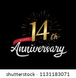 14 years gold anniversary... | Shutterstock .eps vector #1131183071