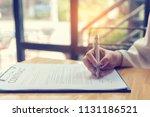 beautiful business woman using...   Shutterstock . vector #1131186521