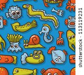 seamless pattern with cute sea... | Shutterstock .eps vector #113119231