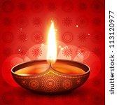 beautiful vector diwali diya on ... | Shutterstock .eps vector #113120977