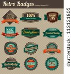 retro badges   combined | Shutterstock .eps vector #113121805
