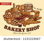 bakery shop sketch poster of... | Shutterstock .eps vector #1131223067